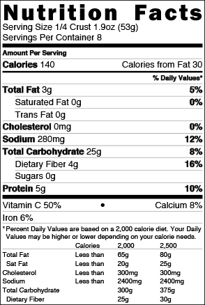 Brooklyn Bred Pizza Crust Ancient Grains Nutrition Facts