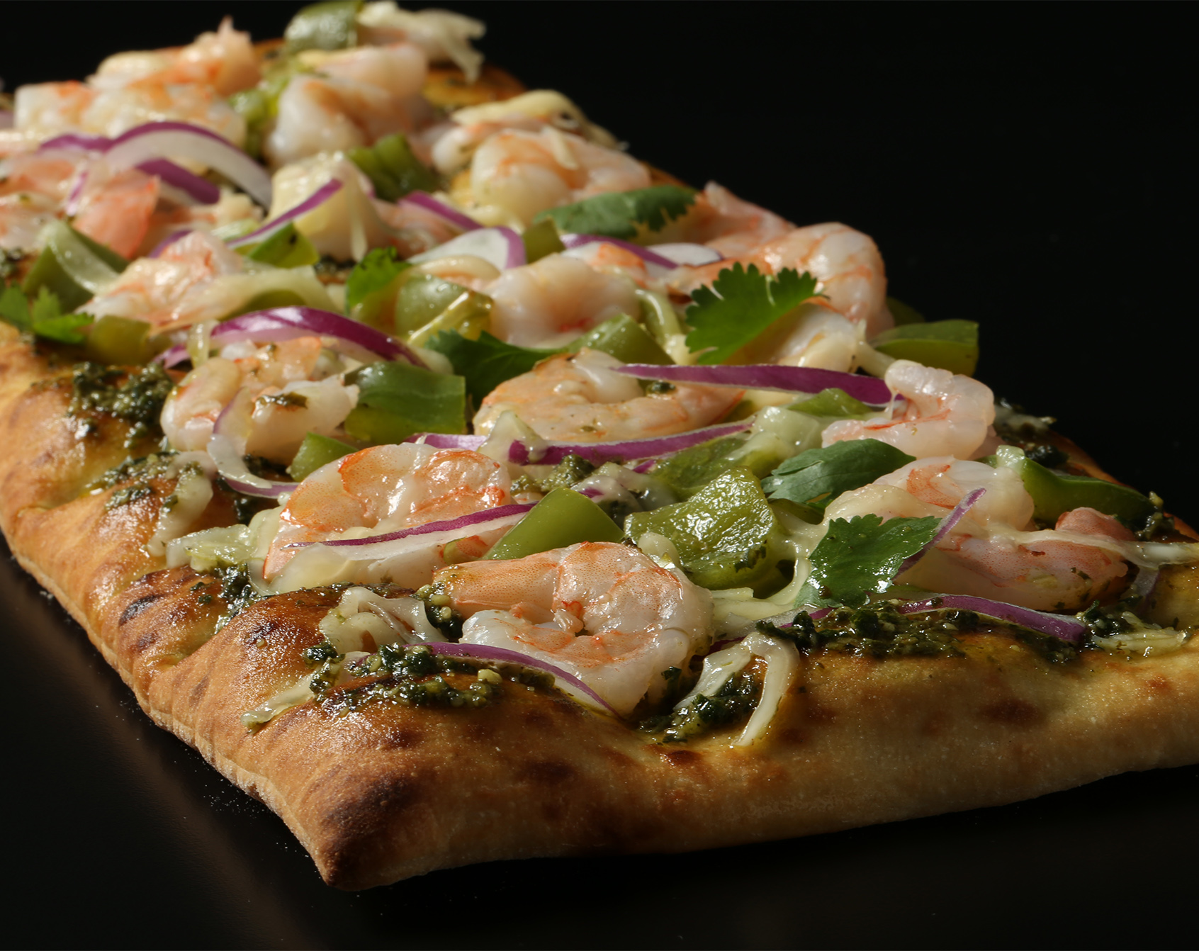 Brooklyn Bred Pizza Crust Shrimp, Cilantro, and Green Chili Pizza