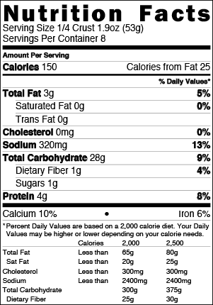 Brooklyn Bred Pizza Crust Original Nutrition Facts