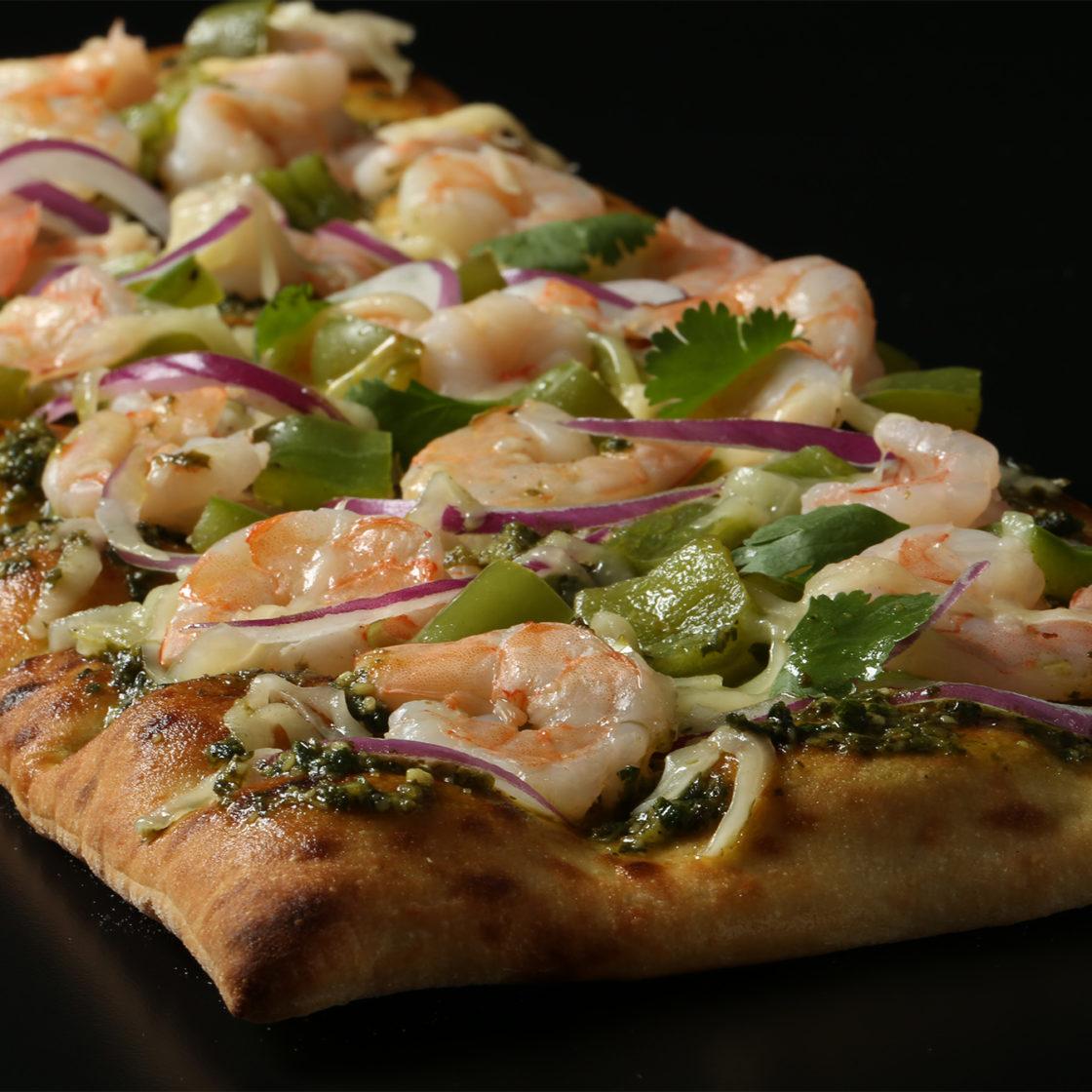 Brooklyn Bred Pizza Crust Shrimp, Cilantro, and Green Chili Pizza
